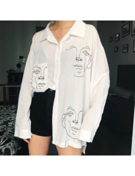 2019 New Summer Blouse Shirt Female Cotton Face Printing Full Sleeve Long Shirts Women Tops Ladies Clothing by Ali Express.Com