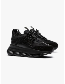 Black Chain Reaction Chunky Faux Leather Sneakers by Versace