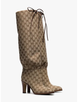 Beige 85 Gg Logo Canvas Knee High Boots by Gucci