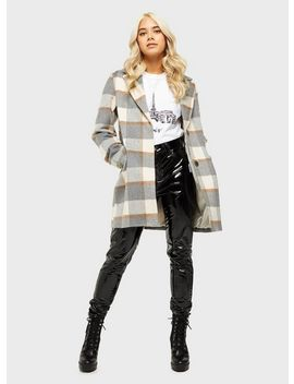 Petite Multi Colour Check Crombie Jacket by Miss Selfridge