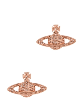 Mini Bas Relief Rose Gold Tone Earrings by Vivienne Westwood