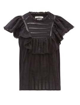 Pleyel Ruffled Striped Cotton Blouse by Isabel Marant Étoile