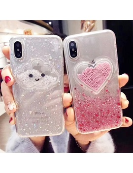 Liquid Heart Glitter Smile Face Clouds Phone Cases For I Phone 6 6s 7 8 Plus X Xs Max Ice Cream Soft Tpu Dynamic Beads Back Cover by Wish
