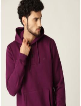 Men Burgundy Solid Hooded Sweatshirt by Allen Solly