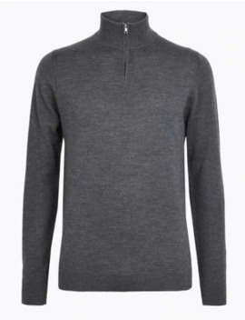 Pure Extra Fine Merino Wool Funnel Neck Jumper by Marks & Spencer