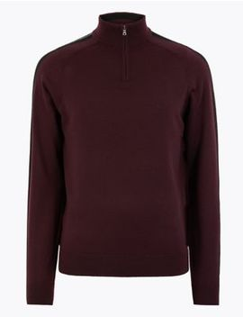 Pure Extra Fine Merino Wool Half Zip Jumper by Marks & Spencer