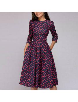 Women Vintage 50s 60s Hepburn Dress Evening Party 3/4 Sleeve Midi Swing Dresses by Ebay Seller