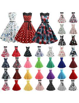 Women Ladies Vintage Polka Dot Swing 50s 60s Rockabilly Dress Gown Evening Party by Ebay Seller