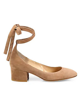 Suede Ankle Wrap Block Heel Pumps by Gianvito Rossi