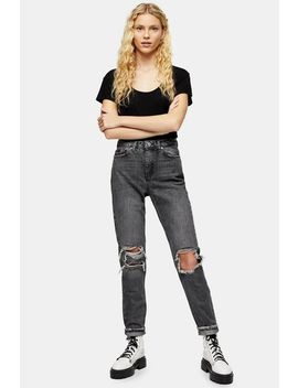 Washed Black Ripped Mom Jeans by Topshop