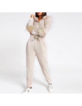 Pink Velour Faux Fur Trim Onesie by River Island