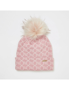 Pink Ri Monogram Beanie Hat by River Island