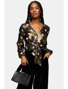 Star Foil Tie Front Blouse by Topshop