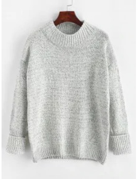 Hot Sale Crew Neck Heathered Loose Sweater   Light Gray by Zaful