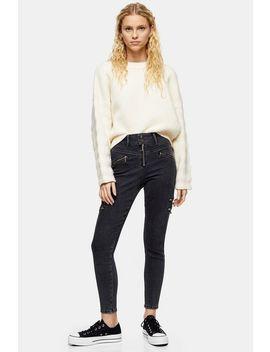 Washed Black Zip Jamie Jeans by Topshop