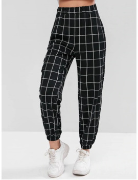 High Waist Plaid Jogger Pants   Black S by Zaful