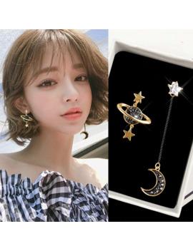 New Jewelry Personality Stars Moon Asymmetrical Black Long Earrings Jewelry Wholesale by Ali Express.Com