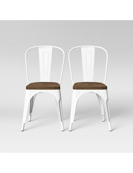 Set Of 2 Carlisle High Back Wood Seat Dining Chair Matte White   Threshold™ by Threshold