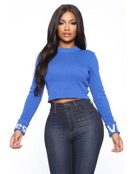 Feelin' Your Vibe Cropped Sweater   Blue by Fashion Nova