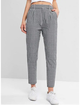 Plaid High Waisted Pocket Pencil Pants   Multi A S by Zaful