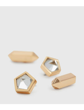 Erin Gold Tone Semi Precious Crystal Quartz Stud Set by Allsaints