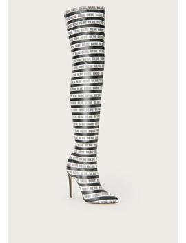 Distinct Logo Stripe Boots by Bebe