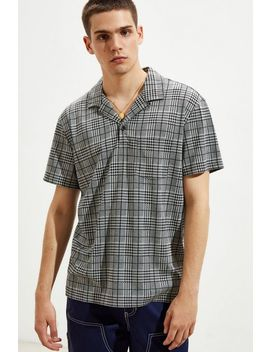 Uo Jacquard Camp Collar Patterned Polo Shirt by Urban Outfitters