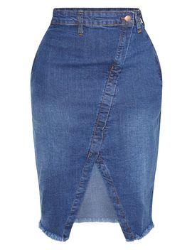 Shape Mid Wash Wrap Denim Midi Skirt by Prettylittlething