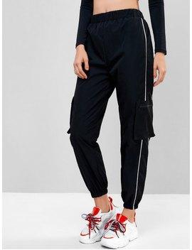 Popular Piping Zipper Pockets Jogger Pants   Black S by Zaful