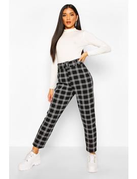 Belted Dogtooth Check Stretch Skinny Trousers by Boohoo