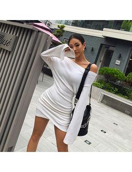 Liphop   Off Shoulder Shirred Hem Minidress by Liphop