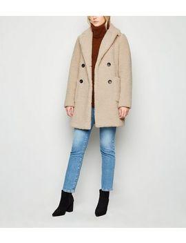 Tall Cream Longline Teddy Coat by New Look
