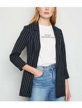 Black Pinstripe 3/4 Sleeve Blazer by New Look
