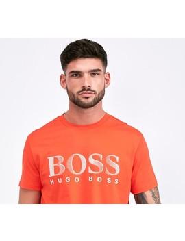 Large Logo T Shirt   Orange / White by Boss