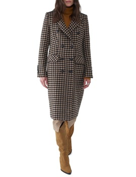 Julie Houndstooth Long Coat by Sosken
