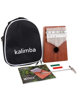 Kalimba Thumb Piano 17 Keys With Mahogany Wooden With Bag, Hammer And Music Book, Perfect For Music Lover, Beginners, Children by Ali Express.Com