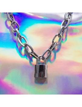 Men Women Unisex Metal Chain Choker Necklace Heavy Duty Square Lock Collar by Wish