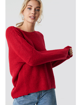 Round Neck Knitted Sweater Rød by Trendyol