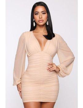 Just Like Me Mesh Ruched Mini Dress   Taupe by Fashion Nova