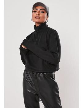 Black Fleece High Neck Cropped Sweatshirt by Missguided