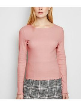 Pink Frill Ribbed Long Sleeve Top by New Look
