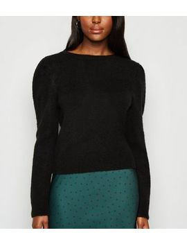 Black Brushed Puff Sleeve Jumper by New Look