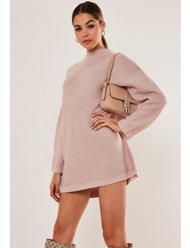 Petite Pink Ribbed High Neck Dress by Missguided