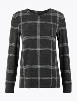 Cosy Checked Straight Fit Sweatshirt by Marks & Spencer