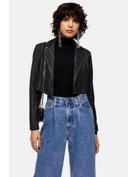 Grey Pinstripe Crop Blazer by Topshop