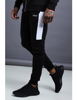 Man Skinny Jersey Jogger With Side Panels by Boohoo