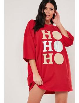 Plus Size Red Ho Ho Ho Oversized Sweatshirt by Missguided