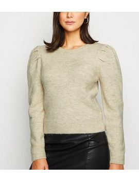 Cream Brushed Puff Sleeve Jumper by New Look