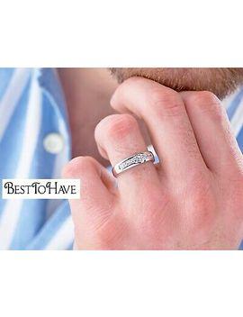 <Span><Span>Genuine Sterling Silver +Created Diamonds Mens Wedding Engagement Band Ring </Span></Span> by Ebay Seller