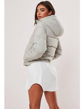 Grey Hooded Puffer Jacket by Missguided